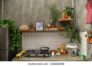 Dalat, Vietnam - Nov 13, 2018. Interior design of kitchen cabinets at rural house in Dalat, Vietnam.