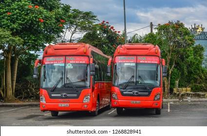 Dalat, Vietnam - Nov 13, 2018. Group of Phuong Trang buses wait to new trip at main bus station in Dalat, Vietnam.