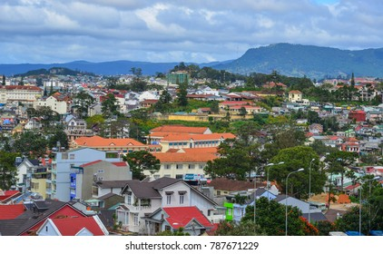 Dalat, Vietnam - Nov 25, 2017. Aerial view of Dalat, Vietnam. The architecture of Dalat is dominated by the style of the French colonial period.