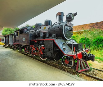 DALAT, VIETNAM - NOV 26, 2014.  Ancient station is famous place, history destination for traveler, with railway, antique train transport tourist to visit in Dalat, Vietnam