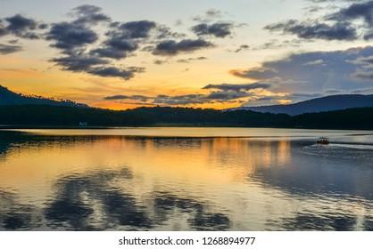 Dalat, Vietnam - Nov 4, 2018. Lake Tuyen Lam at sunset in Dalat, Vietnam.
