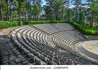 Dalat, Vietnam - Nov 4, 2018. The grandstands of a modern outdoor amphitheater, a stage for small entertaining events, performances, concerts or presentations.