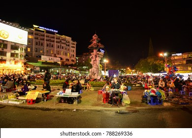 DALAT, VIETNAM - NOVEMBER 26, 2016: Unidentified people in Dalat night market. Dalat is one of the beautiful city in Vietnam.