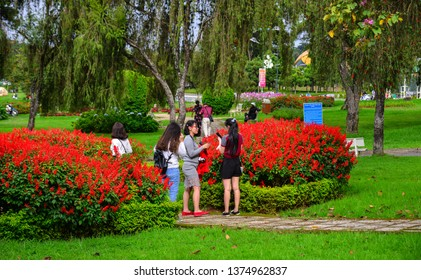 Dalat, Vietnam - Sep 14, 2018. People enjoy at public park in Dalat, Vietnam. Dalat is located in the South Central Highlands of Vietnam.