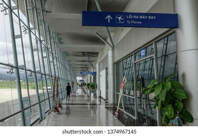 Dalat, Vietnam - Sep 15, 2018. Interior of Lien Khuong Airport in Dalat, Vietnam. Dalat is located in the South Central Highlands of Vietnam.