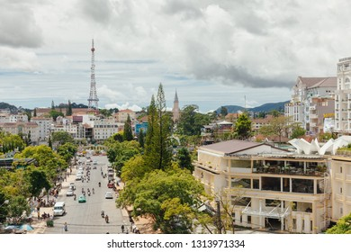 Dalat, Vietnam - September 23, 2018: A view of Dalat city from the Central Market on September 23, 2018, in Dalat, Vietnam