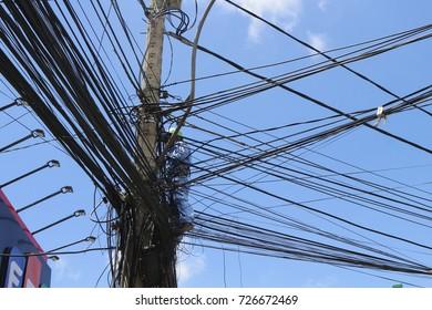 Dalat, Vietnam, September 30,2017: Worker repair communication line on street