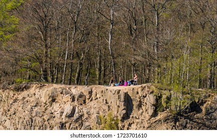 DALBY, SWEDEN - MAY 02, 2020: Young people on an excursion to the Knivasen, Dalby Skane, in spring