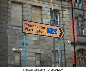 Dale Street, Liverpool, UK - May26 2019 : A sign explains the direction to Manchester and Warrington