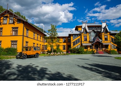 Dalen, Telemark county, Norway - August 12, 2018: Historic hotel located at Dalen in the municipality of Tokke in Telemark, Norway. It's one of the best preserved hotels of its size from the 1800s.