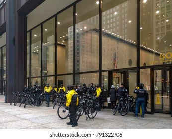 Daley Plaza, Chicago-January 20, 2017. Post-Inauguration Trump Protest. Chicago Police Officers are present at the demonstration to ensure public safety.
