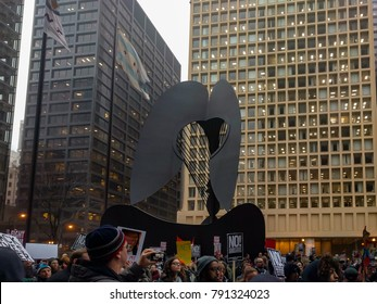 Daley Plaza, Chicago-January 20, 2017. Post-Inauguration Trump Protest. Crowds gather at Daley Plaza to protest Donald Trump's inauguration as President.