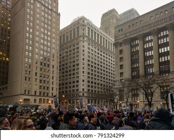 Daley Plaza, Chicago-January 20, 2017. Post-Inauguration Trump Protest. Hundreds of people gather at Daley Plaza to protest the presidential inauguration of Donald Trump.