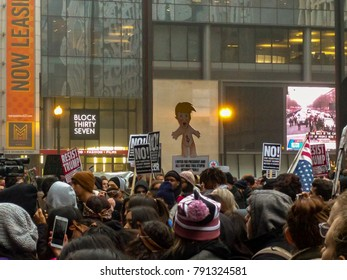 Daley Plaza, Chicago-January 20, 2017. Post-Inauguration Trump Protest. Hundreds of upset citizens gather at Daley Plaza to protest the Presidential Inauguration of Donald Trump.