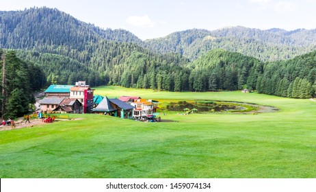 Dalhousie, Banikhet, Himachal - 20 July, 2019 - View of famous Khajjiar Lake is situated in Chamba district of Himachal Pradesh, India