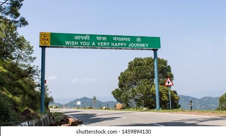 "Dalhousie, Chamba, Khajjiar, Himachal - 21 July, 2019 - ""wish you a very happy journey"" written on a sign board"