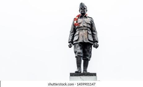 Dalhousie, Chamba, Khajjiar, Himachal - 21 July, 2019 - Statue of Subhas Chandra Bose at Subhas Chowk of Dalhousie