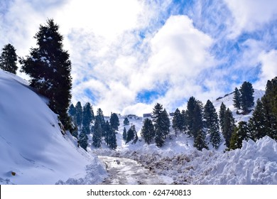 Dalhousie hill station in himachal pradesh, India after heavy snowfall in winter