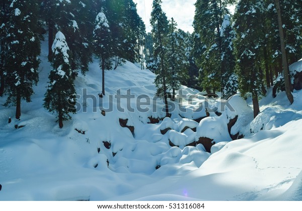 Dalhousie hill station in Himachal Pradesh in India after heavy snowfall in winter.