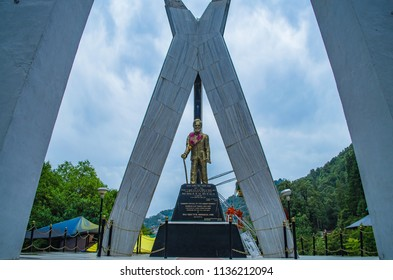 DALHOUSIE, HIMACHAL PRADESH, INDIA- JUN 2018: The monument of Sardar Ajit Singh at Panchpula. Sardar Ajit Singh was a revolutionary and a nationalist during the time of British rule in India.