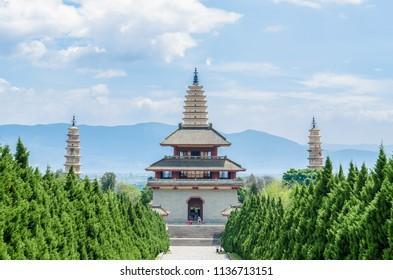 Dali, China - April 20,2017 : The Three Pagodas of Chongsheng Temple near Dali Old Town, Yunnan province, China.