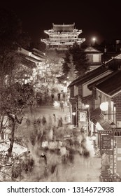 DALI, CHINA - DEC 5: Street view at night on December 5, 2014 in Dali, China. Dali is the ancient capital of Nanzhao in 8-9th centuries and Kingdom of Dali and major travel attractions in China.