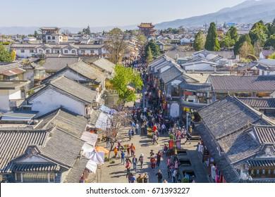 Dali, China, February 2017: Dali is an ancient town where ethnic minorities gather in Yunnan, china.