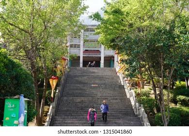 Dali City, Yunnan, China - 22 Jan 2019:  Capture the architecture and building at the Dali ancient city.