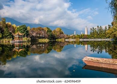 Dali City, Yunnan Province, China - December 15, 2016 morning, Dali, Yunnan Province, three towers