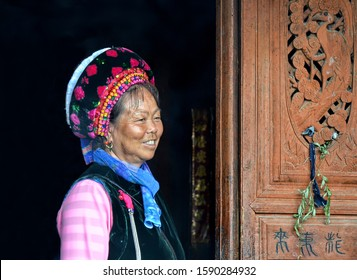 Dali, Yunnan, China. 04-26-2016.  Bai woman