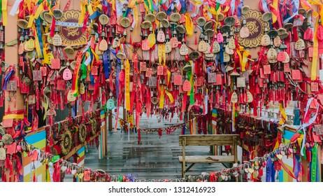 Dali, Yunnan, China - Aug. 1, 2016: View of prayer pendants on top of Mount Cangshan, in Dali, Yunnan, China