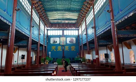 Dali, Yunnan, China - November,2018. Interior of the Cathedral of the Sacred Heart the main Catholic church of Dali, Yunnan, China