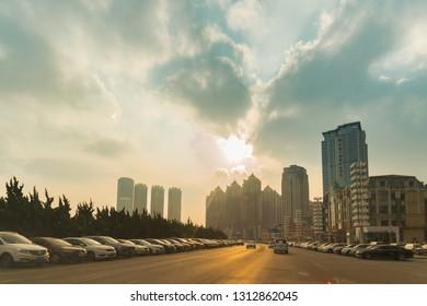 Dalian, China – January 3, 2019: Sunset in Dalian