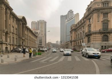 Dalian, China – January 3, 2019: Dalian Street, built under the old European style