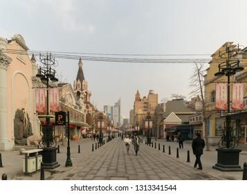 Dalian, China – January 3, 2019: Russian street in Dalian