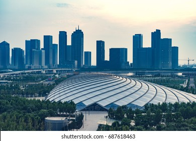 dalian city downtown skyline from above view,china.
