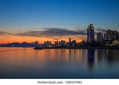 Dalian evening city building