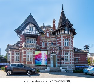 DALIAN, LIAONING, CHINA - 22JUL2018: Russian Street is home to a number of Russian Style buildings. Dalian was under Russian Control for a period ending in 1905.
