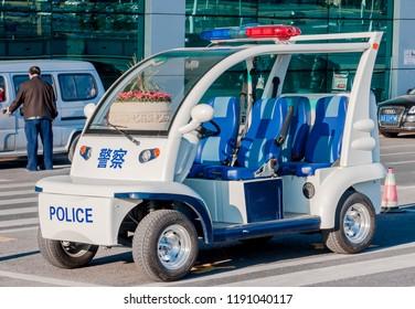 Dalian, Liaoning, China - March 25 2012: Police car at Dalian International Airport