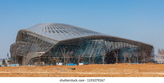Dalian, Liaoning, China - March 25 2012: Dalian International Conference Center during the construction phase.