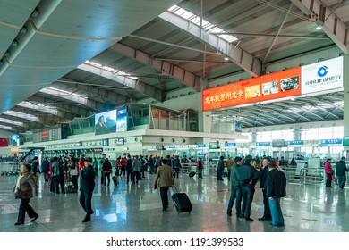 Dalian, Liaoning, China - March 25 2012: Interior view of departure area in Dalian International Airport