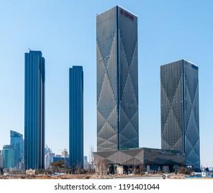 Dalian, Liaoning, China - March 25 2012: Wanda Center with Hilton Hotel (next to Dalian Convention Center).