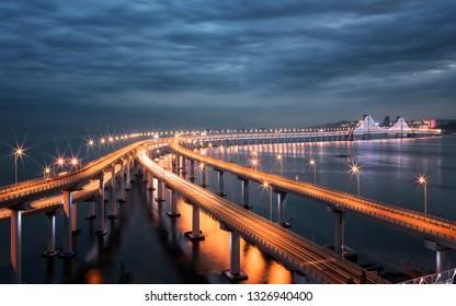 Dalian Xinghai Bay Bridge at night