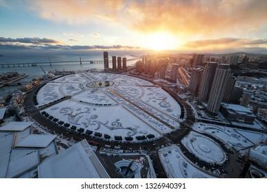 Dalian Xinghai Square Snow Scene