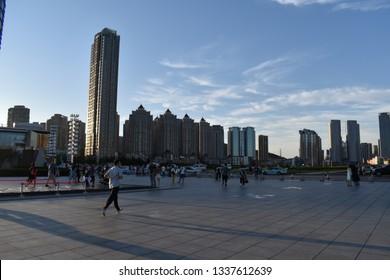 Dalian,China - August 2016 Walking in the Dalian bay area
