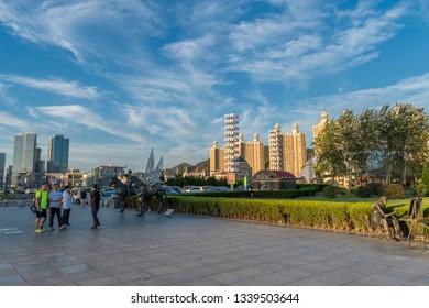Dalian,China - August 2016 Xinghai Square at sunset