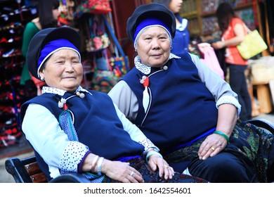 dali-yunnan/china/4/15/2014  Old Bai people in Dali ancient city wear traditional Bai clothes
