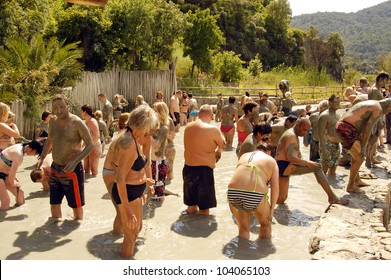 DALJAN, TURKEY - CIRCA MAY 2011: People bathe in the hydrogen sulfide pool circa may 2011 in Daljan, Turkey. Medicinal Bath's thermal water is against psoriasis and dermatological diseases.