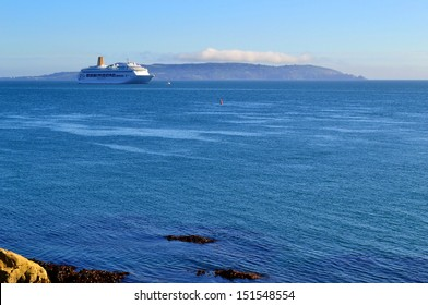 DALKEY, IRELAND - CIRCA JULY 2013: The P&O cruise ship Oriana moored in Dublin Bay during its tour of the British Isles circa July, 2013 in Dalkey, Ireland.