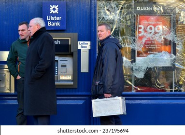 DALKEY, IRELAND - DECEMBER 12: Garda detectives at the scene of an attempted bank robbery on December 12, 2014 in Dalkey, Ireland.